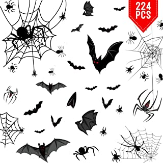 Hidreams 224 PCS Halloween Window Clings Decals, Black Bats Spiders and Webs Halloween Window Stickers for Windows Glass Walls