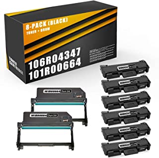 8Pack(6xToner&2xDrum)Compatible106R04347TonerCartridgeand101R00664Drum Unit Replacement for B205 B210 B215Printer