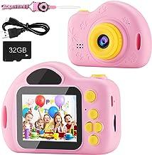 دوربین کودکان و نوجوانان ، دوربین فیلمبرداری دیجیتالی AIMASON هدیه مخصوص سن 3 4 5 6 7 8 9 10 سال دوربین فیلمبرداری خلاقانه و خلاقیت قابل شارژ و ضربات شوک عکاسی DIY برای دختران کوچک با کارت SD 32 GB (صورتی)