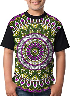 Pink and Yellow Mandala Seamless Pattern Teenager Junior Boy's Girl Youth Short Sleeve T Shirt tee Sports Shirts(L,Black)