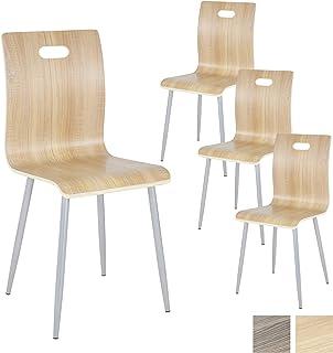 Albatros Silla de Cocina y de Comedor Turin, Set de 4 sillas, Roble, de Madera contrachapada
