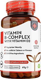 Vitamina B Complex con Vitamina D - 365 Tabletas Vegetarianos (Suministro para 365 Días) - Dosis Altas
