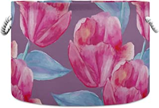 Okrągły kosz do przechowywania akwarela tulipan składany wodoodporny kosz na pranie dla niemowląt pokój dziecięcy kosz org...