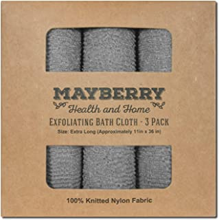 Extra Long (36 Inches) Exfoliating Bath Cloth (3 Pack) Gray Nylon Bath Towel, Stitching on All Sides for Added Durability