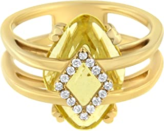 Antandre Womens 14K Yellow Gold Topaz and Diamond Accent Cocktail Ring