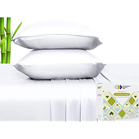 100% Natural Bamboo Sheets - Silky Soft Touch, Hypoallergenic, Cool and Breathable, 4 Piece Hotel Luxury Bedding Set, Elasticized Deep Pocket for Snug Fit (Full Size, Bright White)