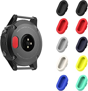 MoKo Dust Plug Compatible with Garmin Fenix 5/5S/5X/6/6S/6X/6 Pro/6S Pro/6X Pro/Forerunner 935/Vivoactive 4/4S/Venu, [10 PACK] Silicone Charger Port Protector Anti Dust Plugs Caps, Multi Colors A