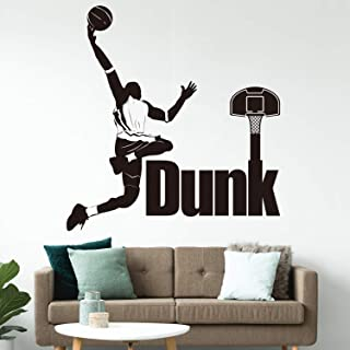 VODOE Basketball Wall Decals, Michael Jordan Wall Decals, Team Player Boy Sports Motion Alphabet Stickers Suitable for Family Living Room Vinyl Art Home Decor(Black 25.1 X 26.7 inches)