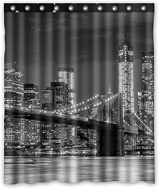 FMSHPON NYC Brooklyn Bridge New York Cityscape Manhattan Skyline Night Waterproof Fabric Bathroom Shower Curtain Size 60x72 i