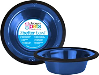 Platinum Pets 1-Cup Stainless Steel Wide Rimmed Bowl, Blue