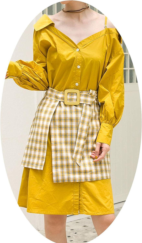 Dhyiklo 2019 Autumn Women's VNeck TwoPiece Dress in The Long of The Waist Shirt Skirt Lattice Skirt Female