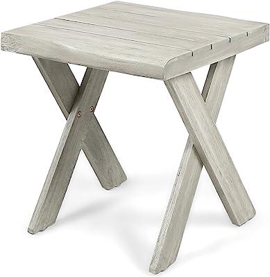 Christopher Knight Home Irene Outdoor Acacia Wood Side Table, Sandblast Light Grey