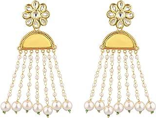 Efulgenz Indian Jewelry Bollywood Faux Stone Kundan Pearl Tassels Dangle Earrings Set for Women