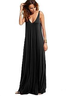 Verdusa Women`s Casual Sleeveless Deep V Neck Summer Beach Maxi Long Dress