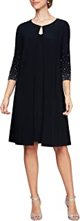 Alex Evenings Women's Midi Scoop Neck Shift Dress with Jacket (Petite and Regular)