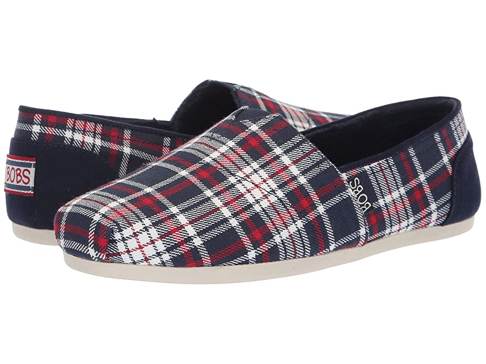 BOBS from SKECHERS Bobs Plush Plaid Dash (Navy/Red) Women