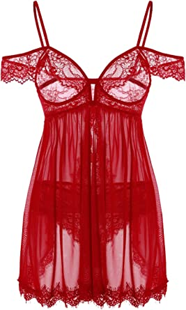 Fully exposed see through lingerie photos Amazon Com Kaei Shi Open Back Babydoll Lingerie For Women Sexy Two Piece Lingerie Set See Thru Floral Eyelash Lace Negligee Burgundy Small Clothing Shoes Jewelry