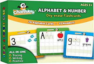 Channie's Dry Erase Alphabet/Number Flash Cards, Size 5.5 x 4.25 x 0.25, White