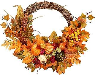 SLDHFE Couronne d'automne, 45 cm, couronne de feuilles d'érable d'automne avec citrouille et baies artificielles, couronne...