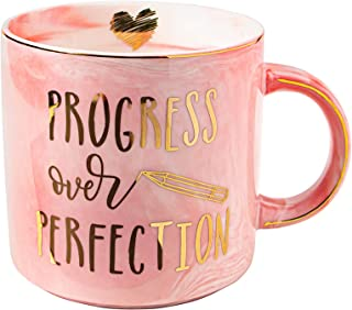 Vilight Progress Over Perfection Inspirational Gifts for Women - Positive and Motivational Mug for Friends - Pink Marble C...