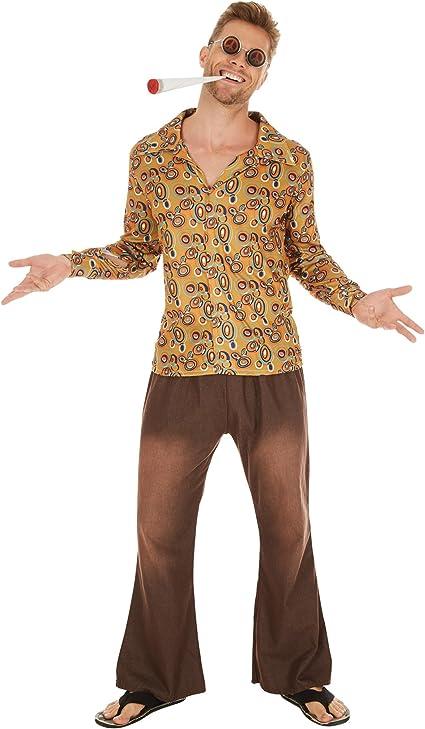 TecTake Disfraz de Hippie John para Hombre | Camisa Retro de Tela y Pantalones desenfadados (XXL | No. 300966)