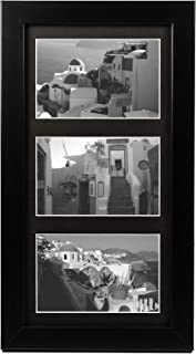 Golden State Art 7x14 Wood Frame for Three 4x6 Picture - Black with 3-Opening Black Mat Color - Portrait or Landscape Wall Mounting - Sturdy and Easy to Install - Real Glass Front (Black, Wood)
