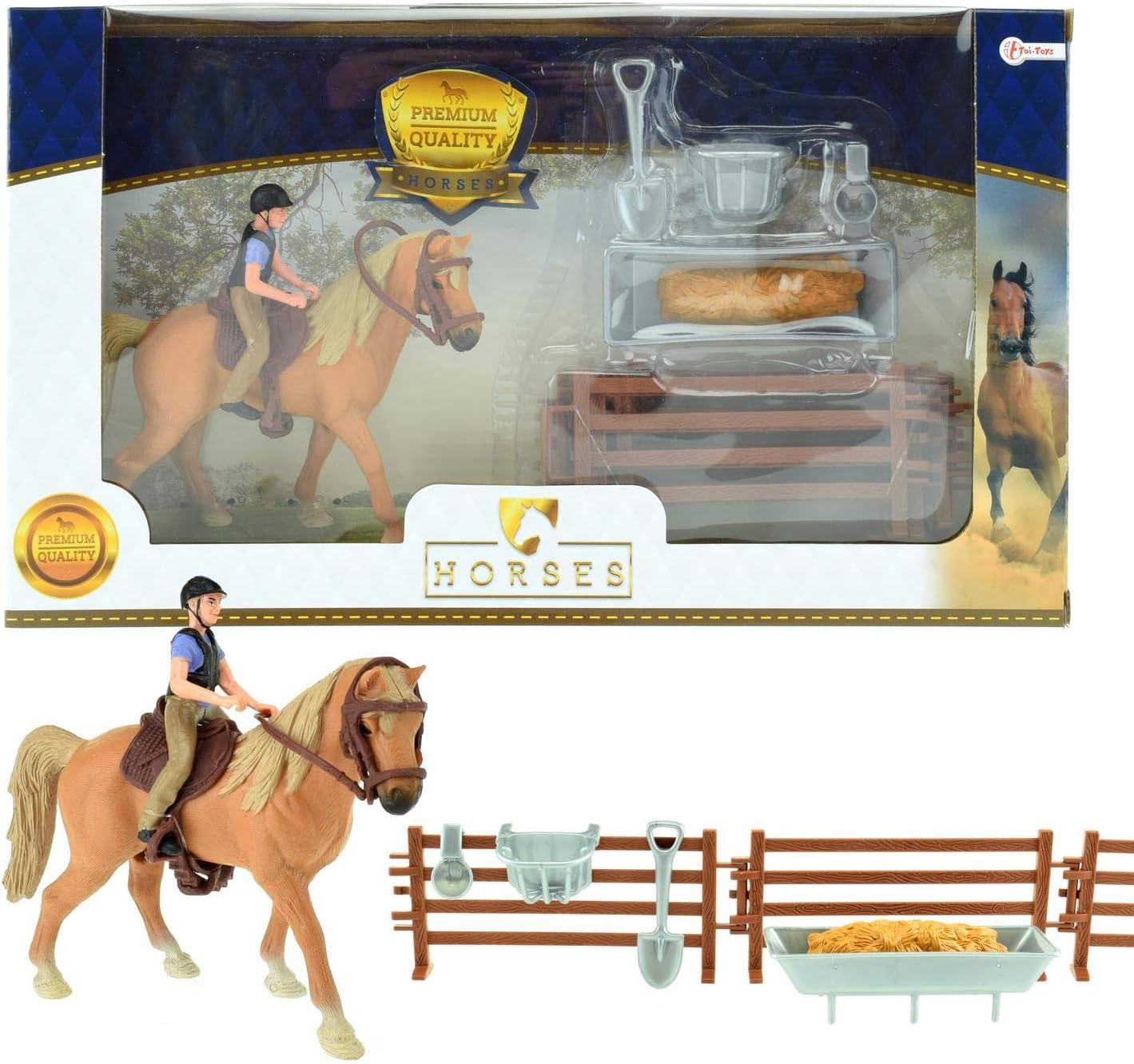 Toi-Toys Caballos Pro Caballo marrón con Jinete y Accesorios