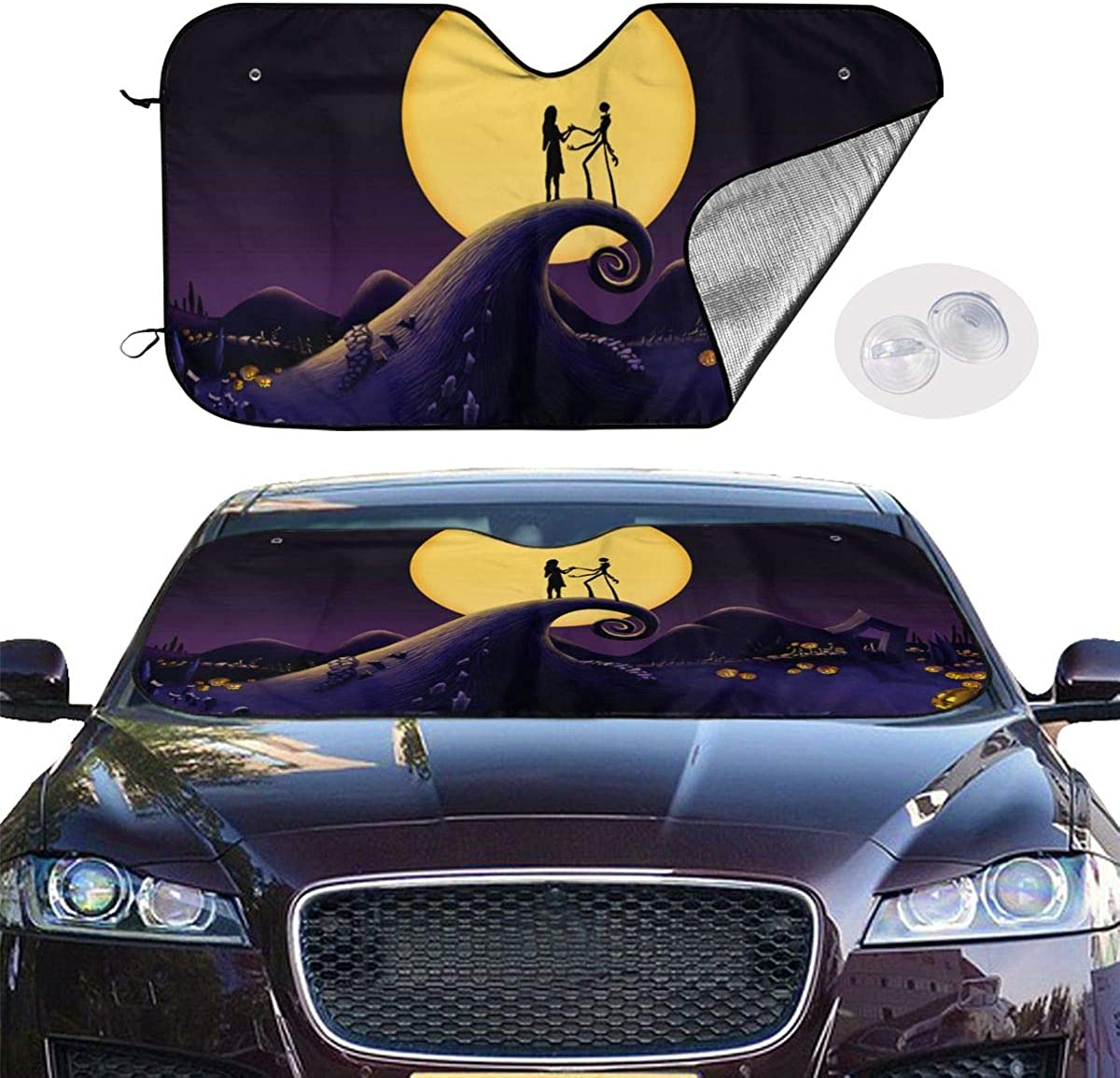 Foldable Universal for Car Truck SUV Blocks Uv Rays Sun Visor Protector-Keep Your Vehicle Cool 51 X 27 Inch ULQUIEOR Front Windshield Sun Shade Dead The Nightmare Before Christmas The Starry Night