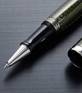Xezo Maestro Diamond Cut, Lacquered, Handcrafted Platinum Plated Fine Rollerball Pen, (Maestro LG Moldavite R)