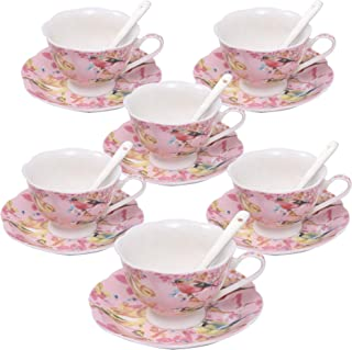 ufengke 7oz Coffee Cup Set,Flowers and Birds Porcelain Coffee Tea Sets,Set of 6 Ceramic Tea Cup and Saucer-Pink