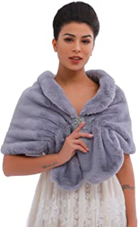 Sleeveless Faux Fur Shawl Wedding Fur Wraps and Shawls...