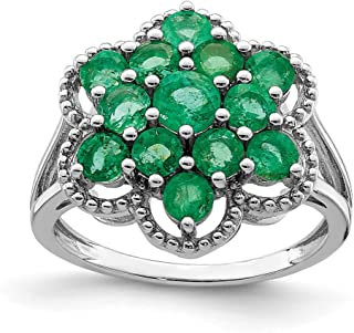 925 Sterling Silver Green Emerald Flower Band Ring Flowers/leaf Gemstone Fine Jewelry For Women Gift Set