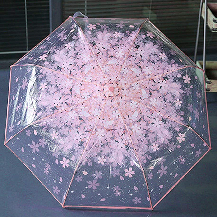 マナー時々等Intercorey Folding umbrella Women Folding Cherry Clear Umbrella Three Folding 8 Rib Windproof Umbrella