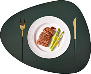 JTX Placemats Set of 2 Round Leather for Dinner Table Mats Heat-Resistant Non-Slip Washable Insulation Coffee Mats Kitchen Place Mats Nordic Style Placemats (Green, Large)