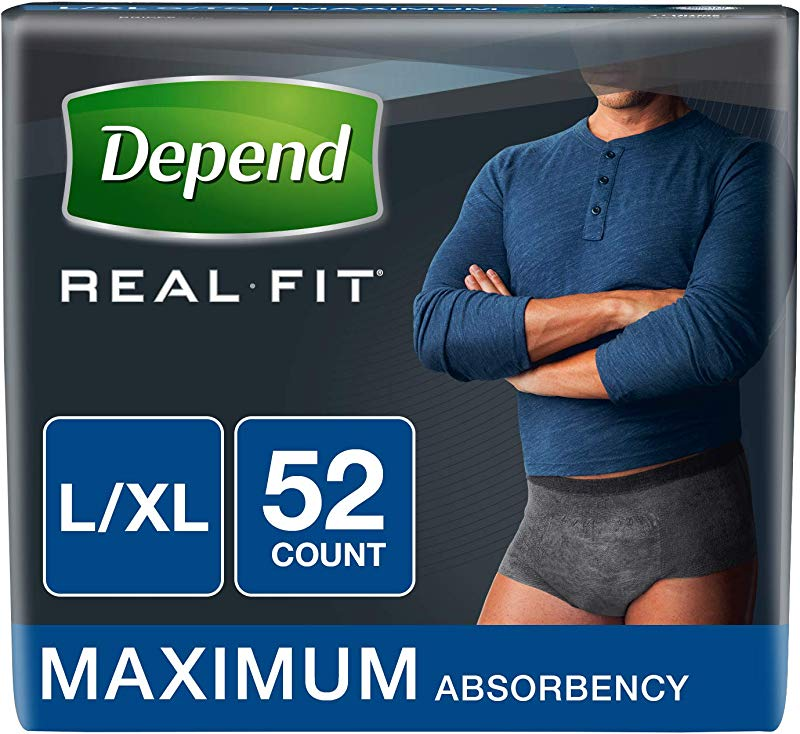 Depend Real Fit Incontinence Underwear For Men Maximum Absorbency L XL Black 52 Count Packaging May Vary