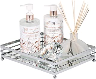 Vnesse Decorative Mirror Tray Mirror Perfume Glass Vanity Jewelry Serving Tray Silver Classic Accessories for Dresser and Bathroom 10.6 inches x 8.6 inches