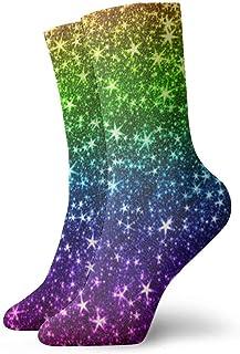 tyui7, Calcetines de compresión antideslizantes Rainbow Glitter Cosy Athletic 30cm Crew Calcetines para hombres, mujeres, niños