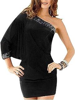 Duplus Asymmetrical Neckline Mini Dress for Women - Free Size, Black