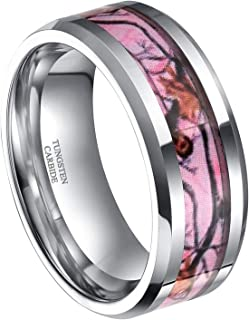 6mm 8mm Camo Tungsten Rings Deer Antlers Hunting Camouflage Engagement Wedding Band Size 4-14