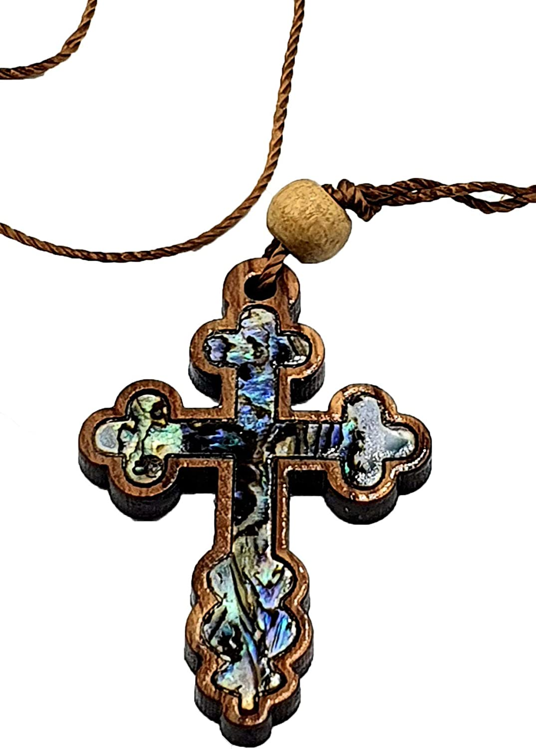 Olive Wood and Mother of Pearl Cross Necklace PEN187B