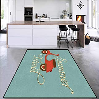 """1960s Decorations, Girls Bedroom Rug, Summer Travel Scooter Vacation Vespa Classic Wheels Rock Cool Cycle Hippy Motorbike Design, for Kids Room 6`6"""" x 10`"""