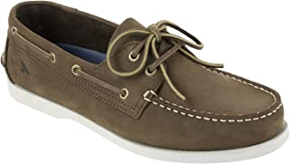 Rugged Shark Men's Classic Boat Shoes, Genuine Leather with Odor Control Technology, Dark Chocolate Brown, Men's Size 10