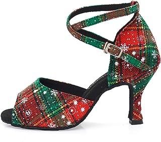 Dames Latin Salsa Dansschoenen Ballroom Party Schoenen Peep Toe Dansen op Kerstmis en Nieuwjaar Party Sneeuw rode kleur