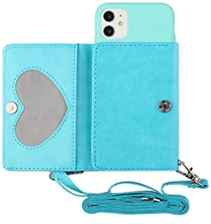"""EnjoyCase Crossbody Case for iPhone 12 Mini 5.4"""",Multifunctional Pu Leather Card Wallet Purse Bag Design Soft Silicone Bac..."""