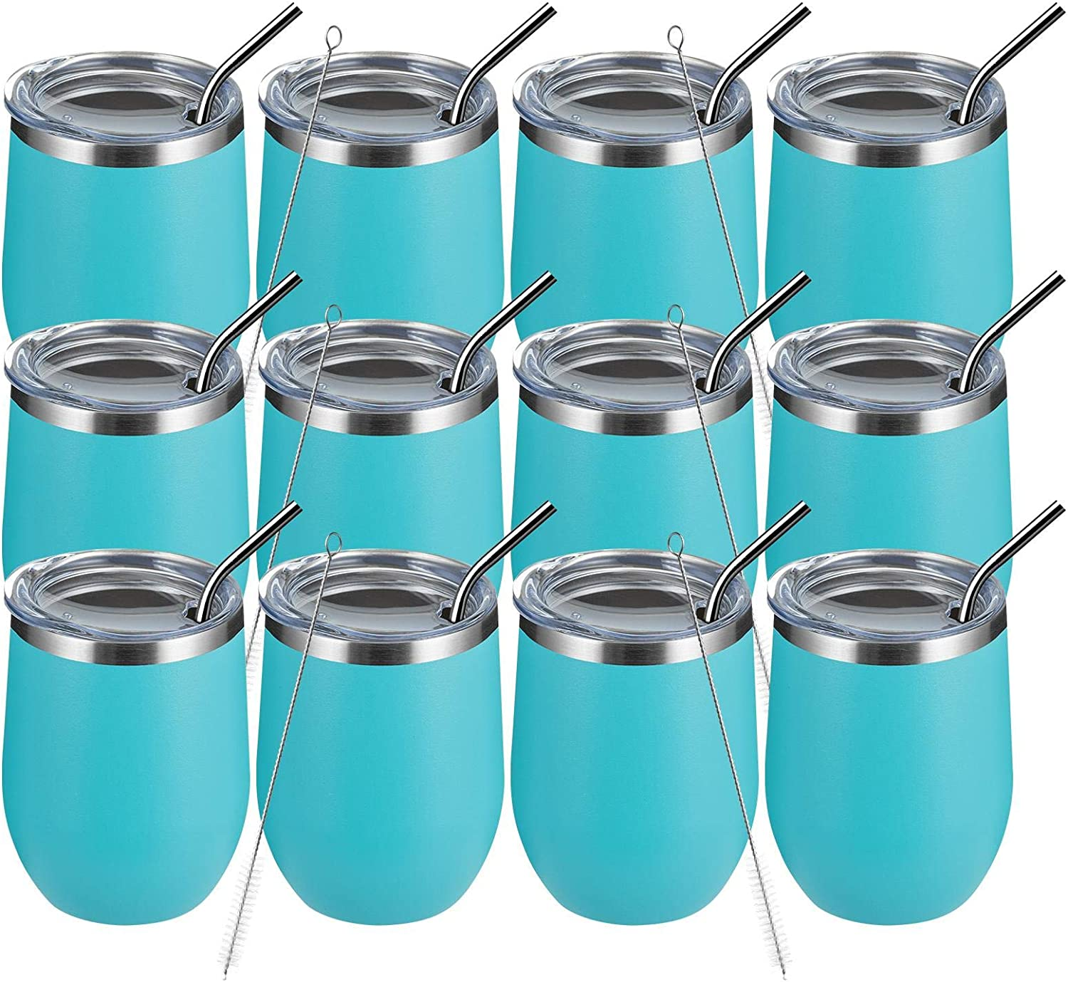 MEWAY 12oz 12 Pack Wine Tumbler with Va -Double Glasses gift Lid Ranking TOP20 Wall