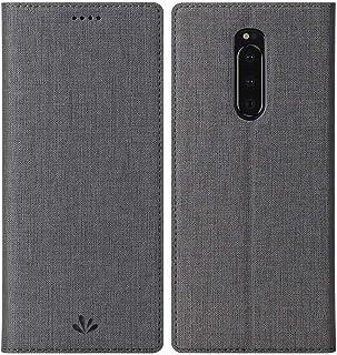 Xperia 1 手帳型 カバー ケース 布製 PUレザー スタンド ポケット マグネット おしゃれ エクスペリアワン スマートフォンケース (Xperia 1, グレー)