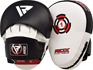 RDX Boxing Pads Focus Mitts |Maya Hide Leather Curved Hook and Jab Target Hand Pads | Great for MMA, Kickboxing, Martial Arts, Muay Thai, Karate Training | Padded Punching, Coaching Strike Shield