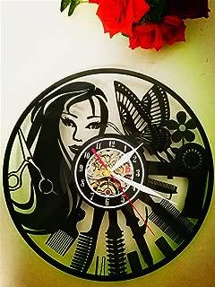 Única Reloj de pared de Vinilo Regalo de Navidad Romántico Salón de Peluquería-diseño Moderno-Creativo Decoración del Hogar(30cm Redondo Negro)