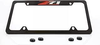 Chevrolet Z71 License Plate Frame Holder (4 Hole / Brass, Black / Top)