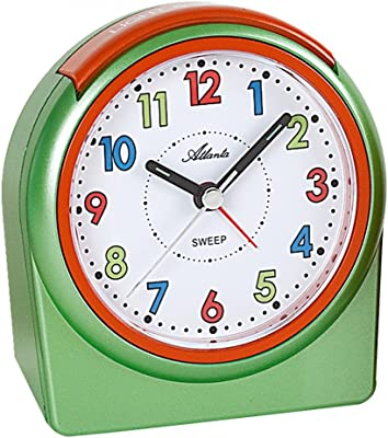 Acctim Lulu 2 Green Kids Alarm Clock Non-Ticking Colour Face Learn To Tell Time